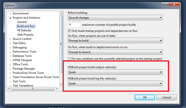 VS Build Options